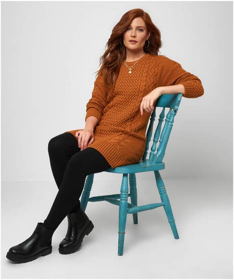 Funky Cable Knit Sweater Dress