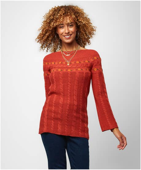 Lovely Embroidered Knit Sweater