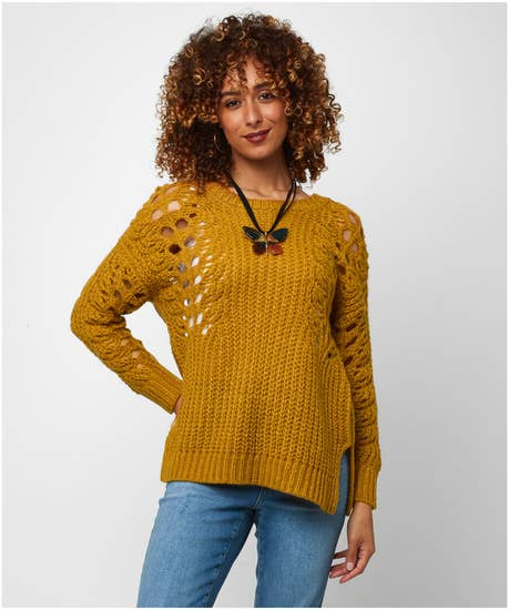 Remarkable Open Knit Sleeve Sweater