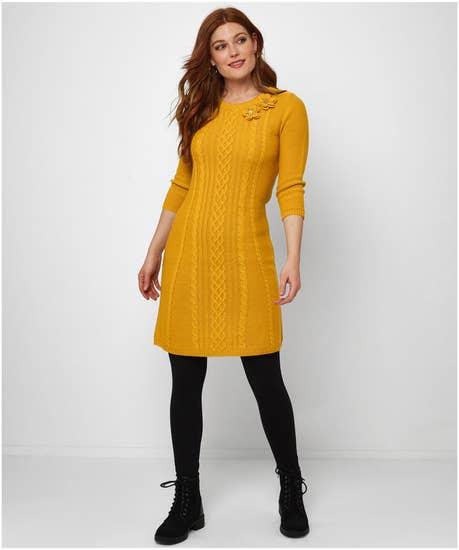 Corsage Detail Sweater Dress