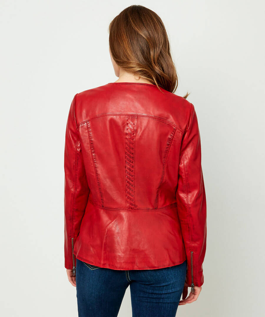 Collarless Leather Jacket Model Back