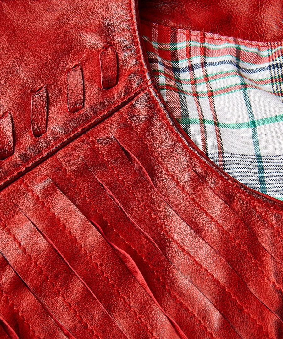 Collarless Leather Jacket Back