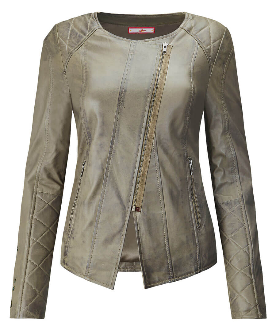 Embroidered Leather Jacket Model Front