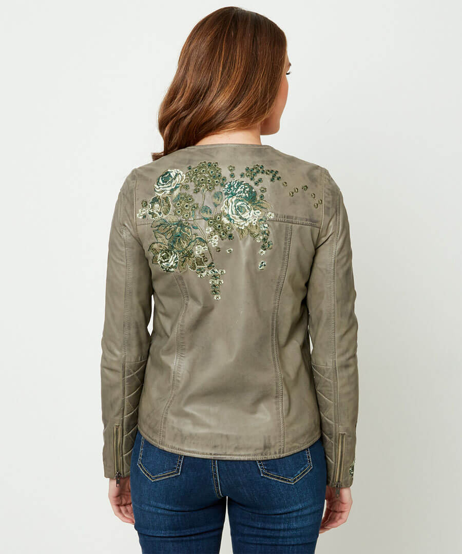 Embroidered Leather Jacket Model Back