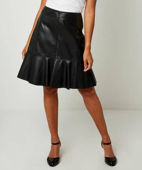 Peplum Leather Skirt