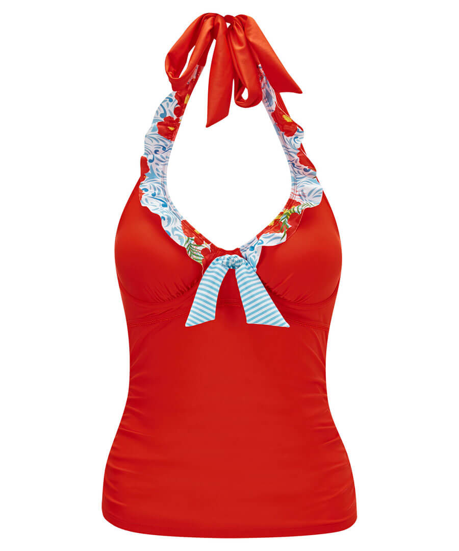 Mix And Match Halterneck Tankini Top Model Front