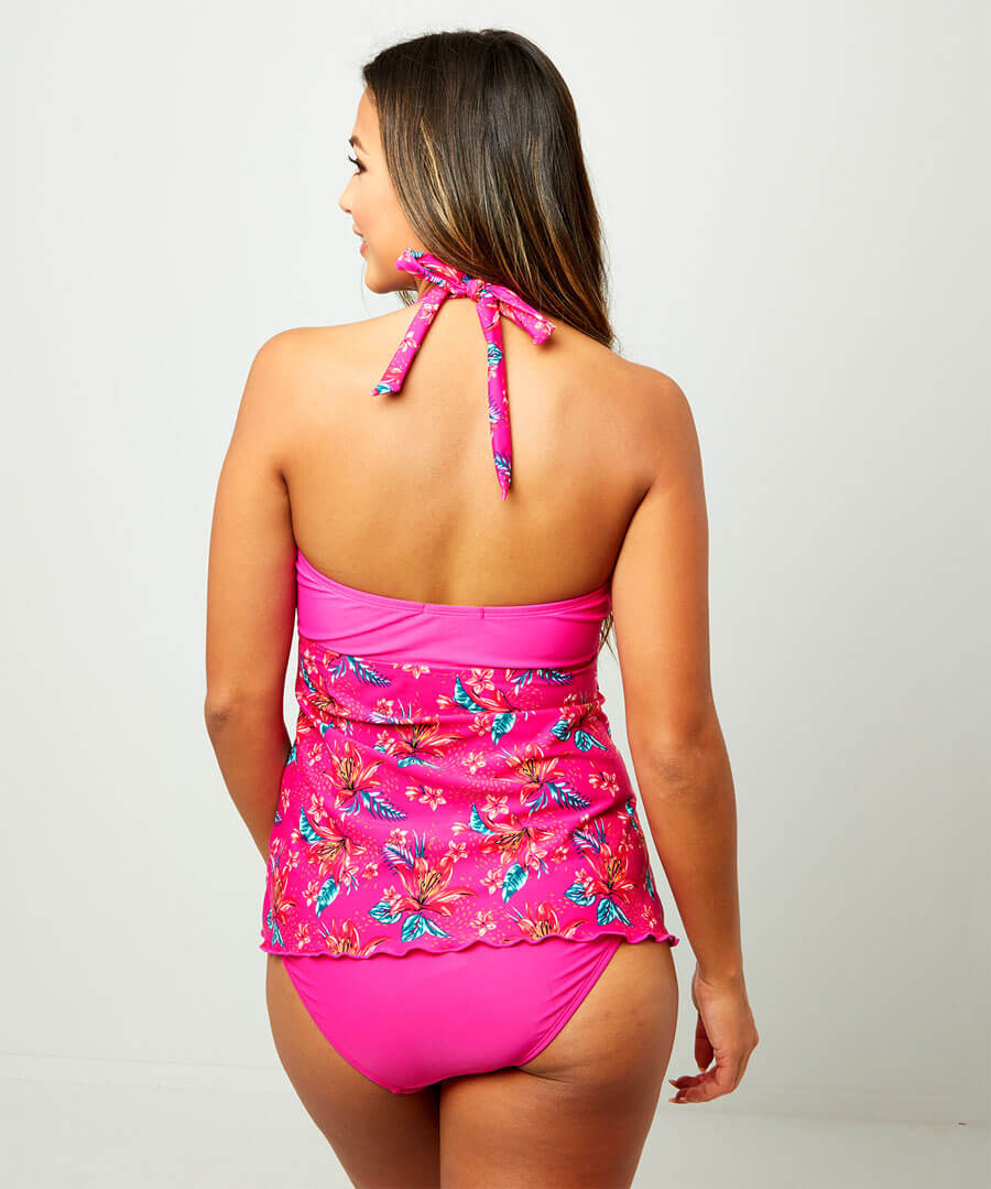 Mix And Match Halterneck Tankini Top Model Back