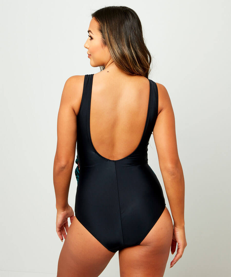 Palm Life Crossover Swimsuit Model Back