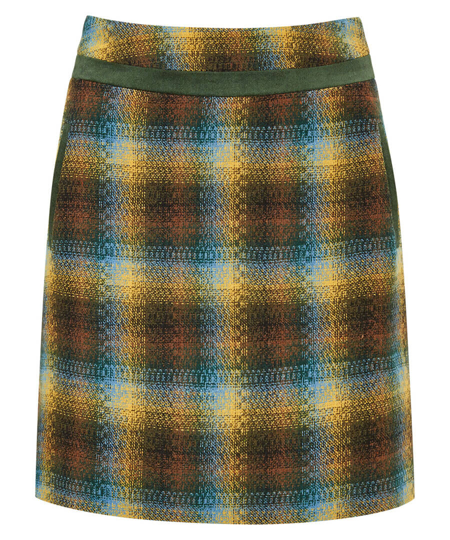 Watercolour Check Skirt Model Front