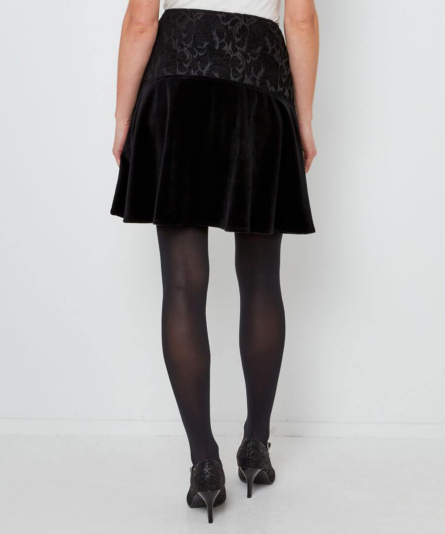 Button Jacquard Skirt Model Back