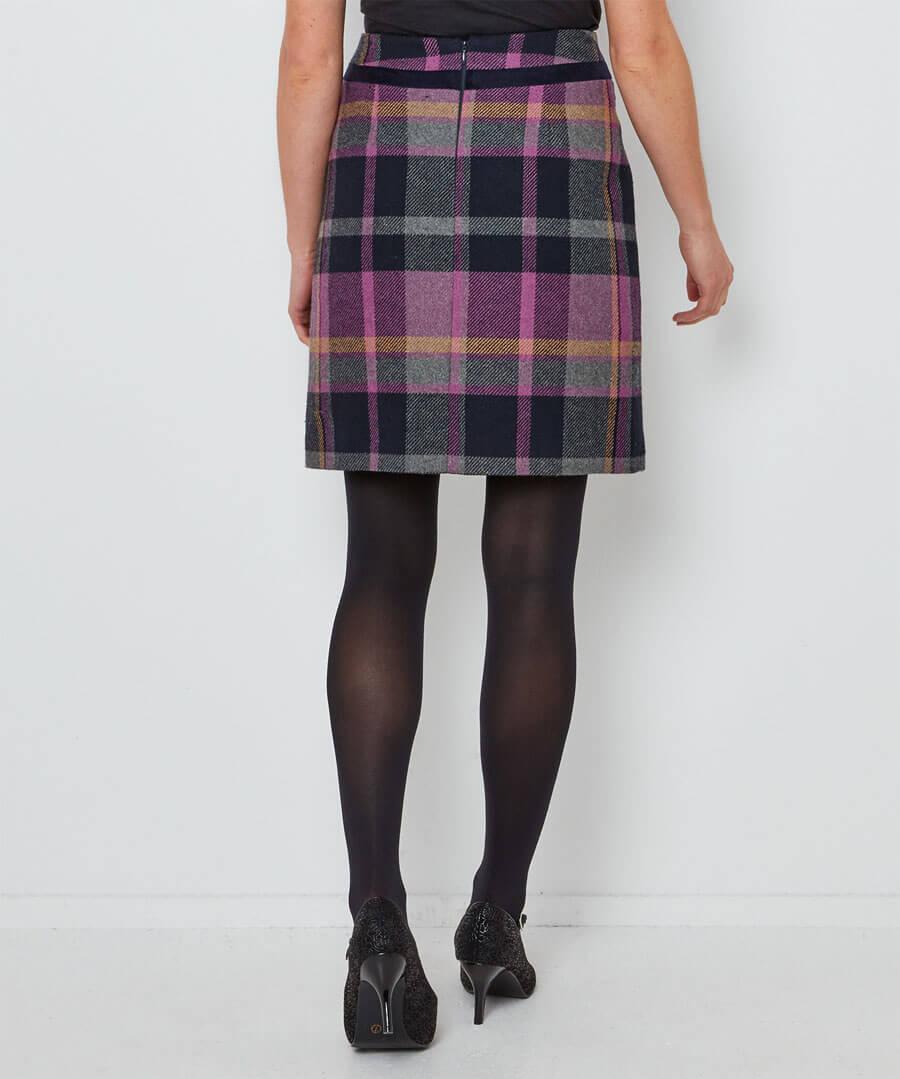 Spirited Check Skirt Model Back