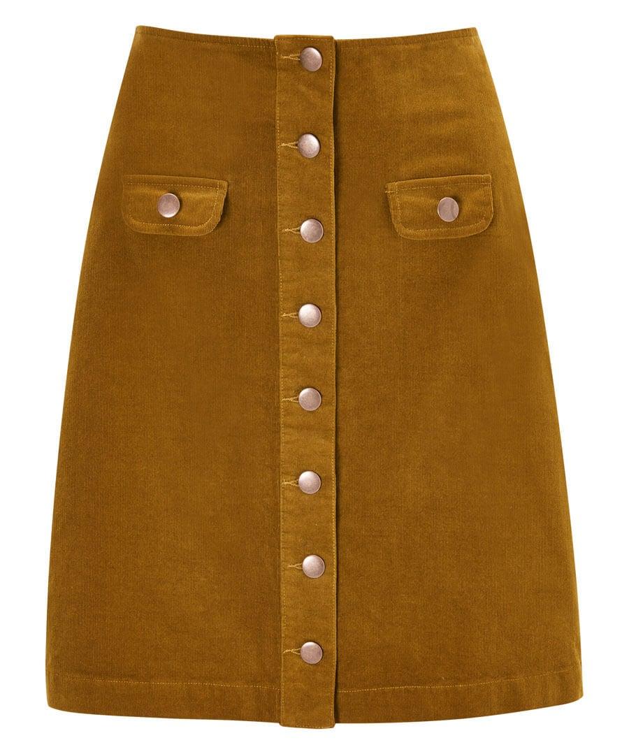 Button Through Cord Skirt Model Front