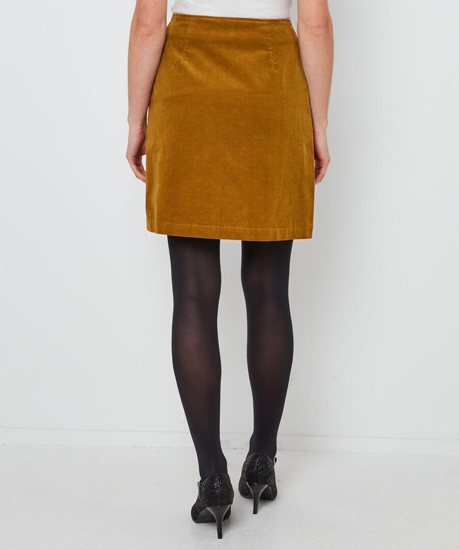 Button Through Cord Skirt Model Back