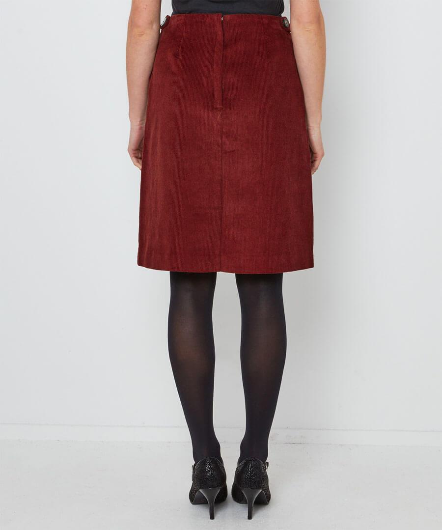 Retro Cord Skirt Model Back