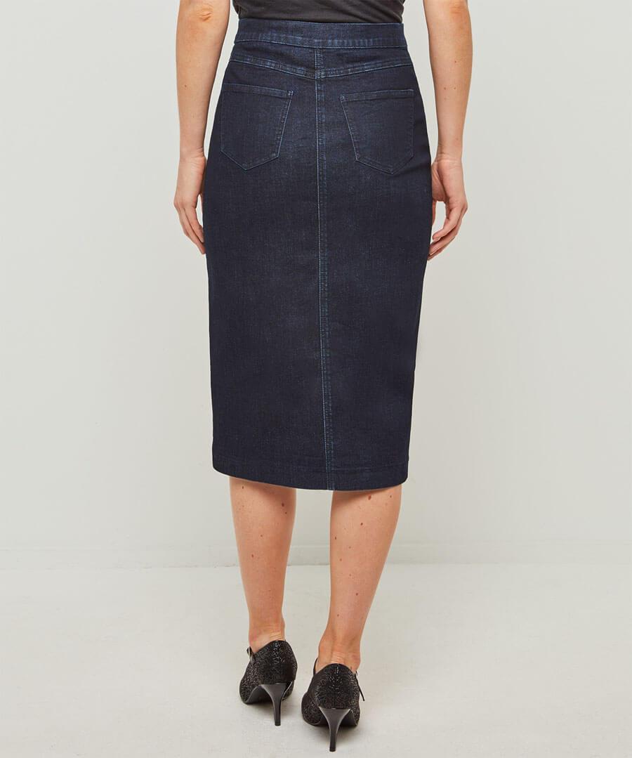 Flirtatious Denim Skirt Model Back