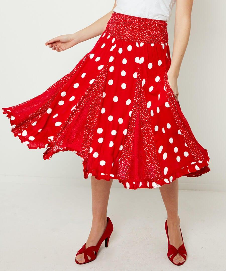 Dotty Godet Skirt Model Front