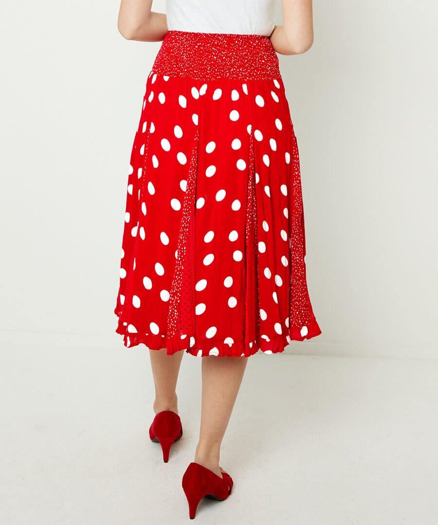 Dotty Godet Skirt Model Back