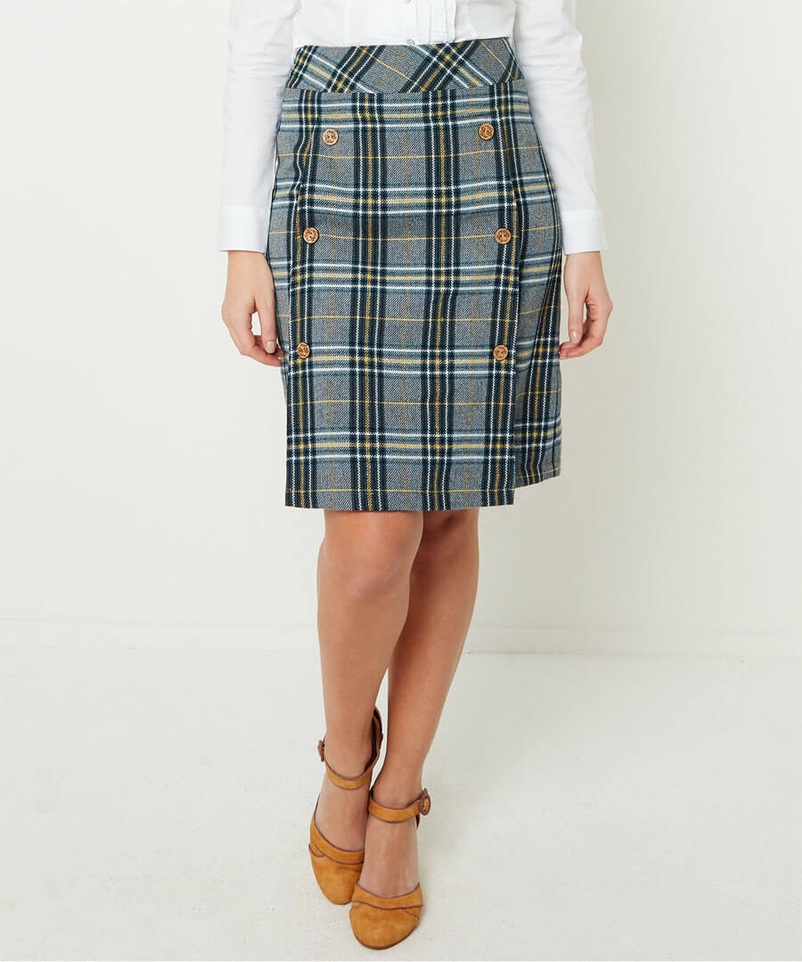 Quirky Check Skirt Model Front