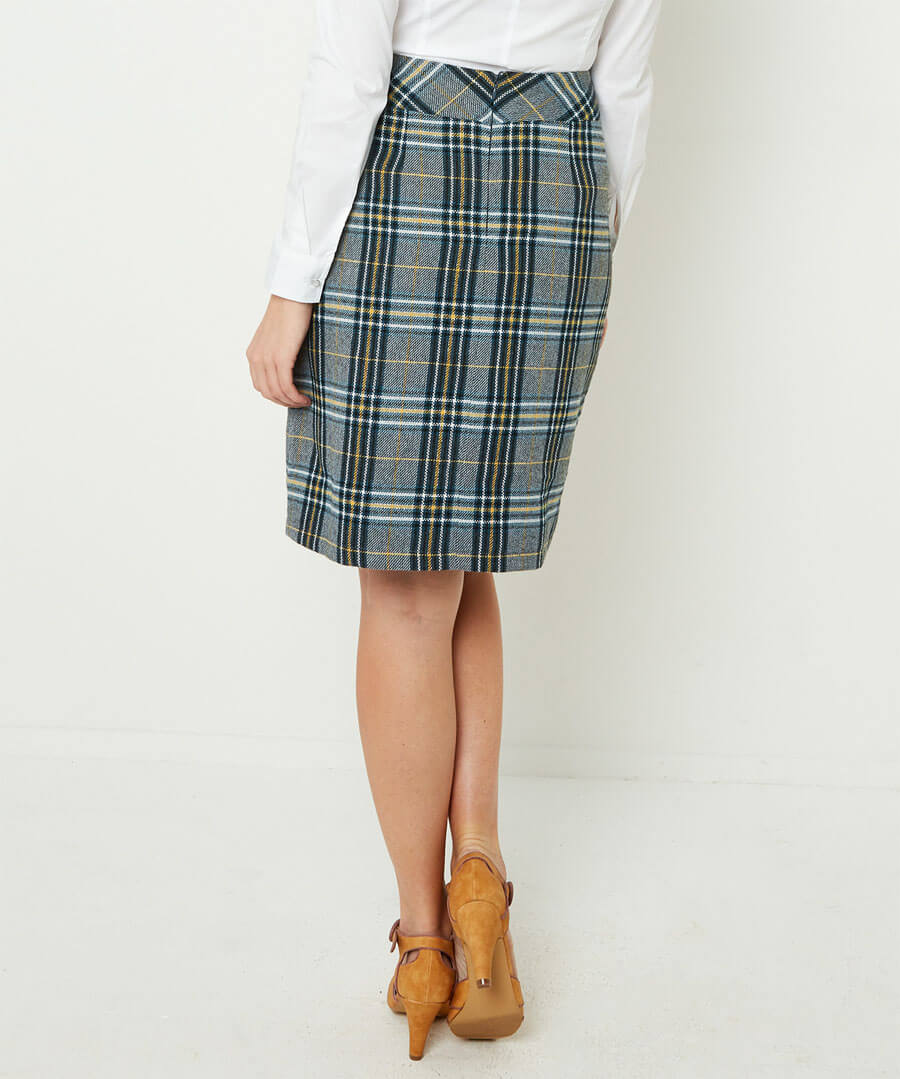 Quirky Check Skirt Model Back