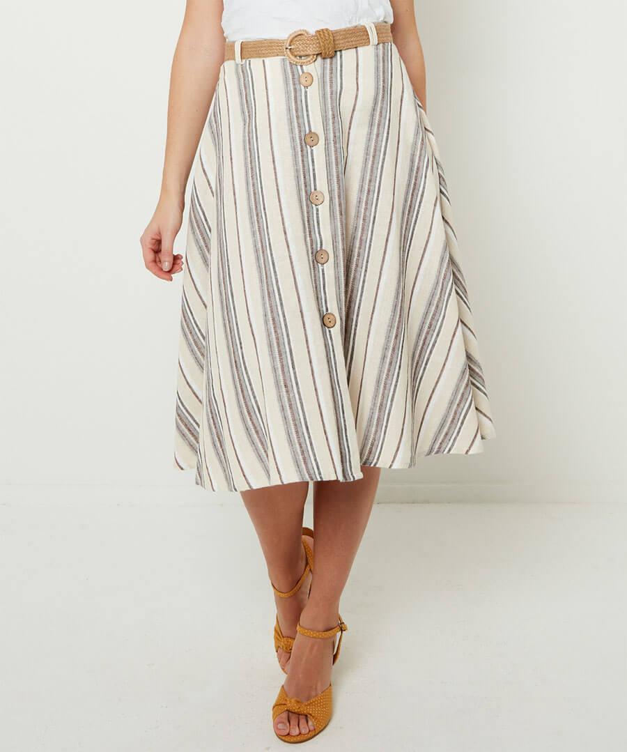 Linen Mix Stripe Skirt Model Front