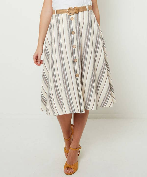 Linen Mix Stripe Skirt
