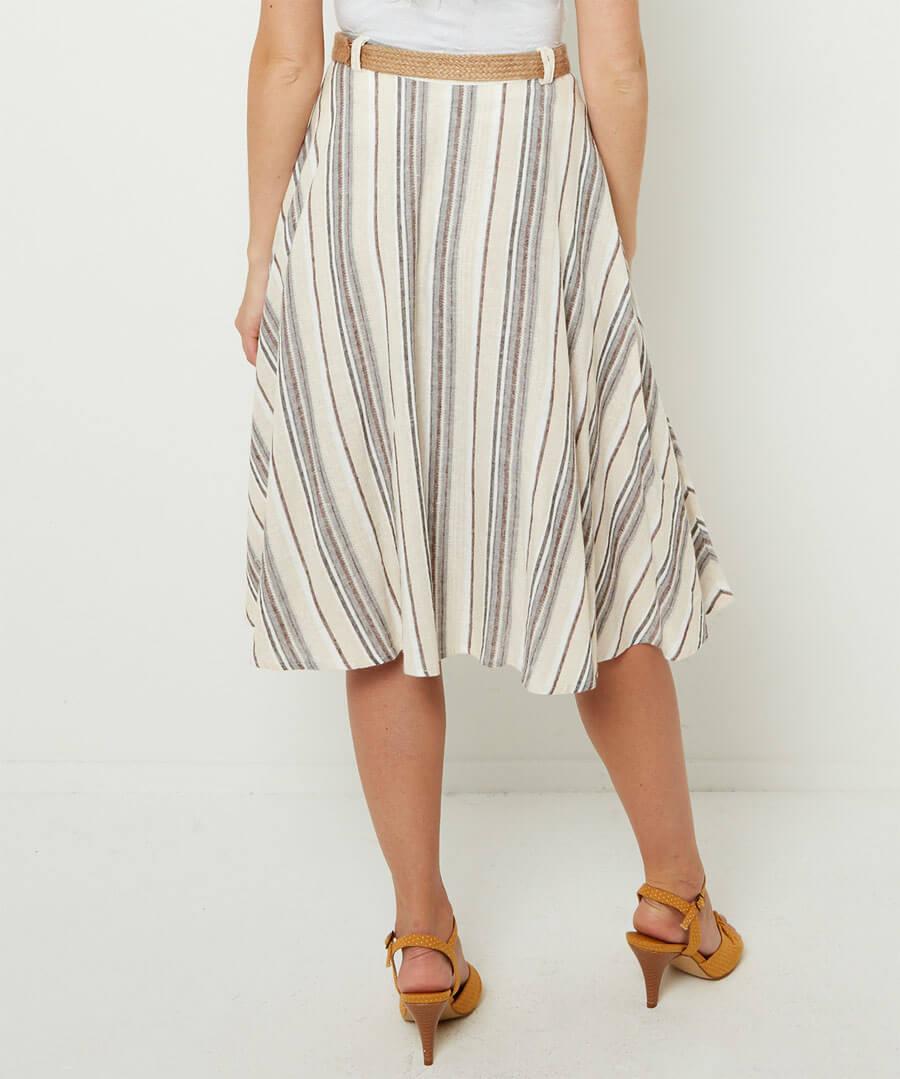 Linen Mix Stripe Skirt Model Back