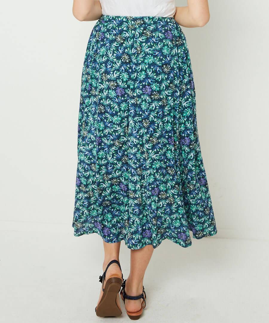 Delicious Palm Print Skirt Model Back