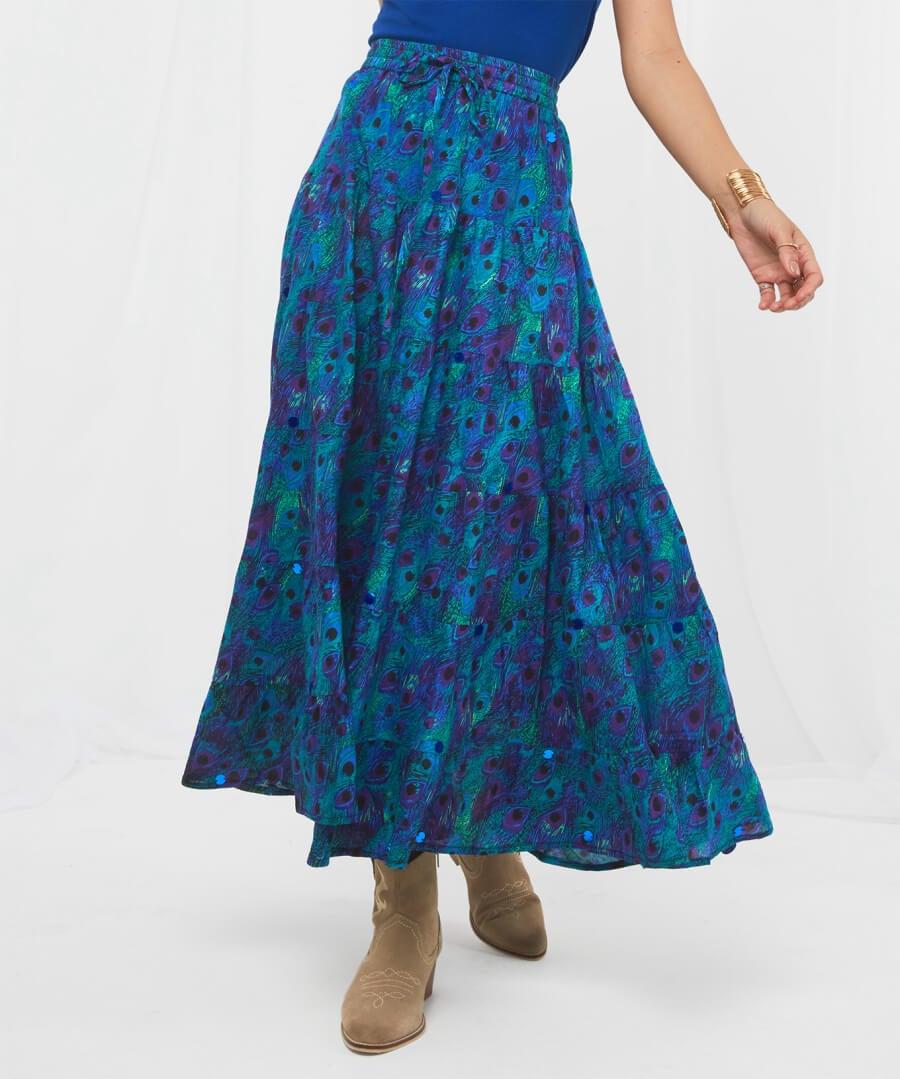 Peacock Skirt Model Back