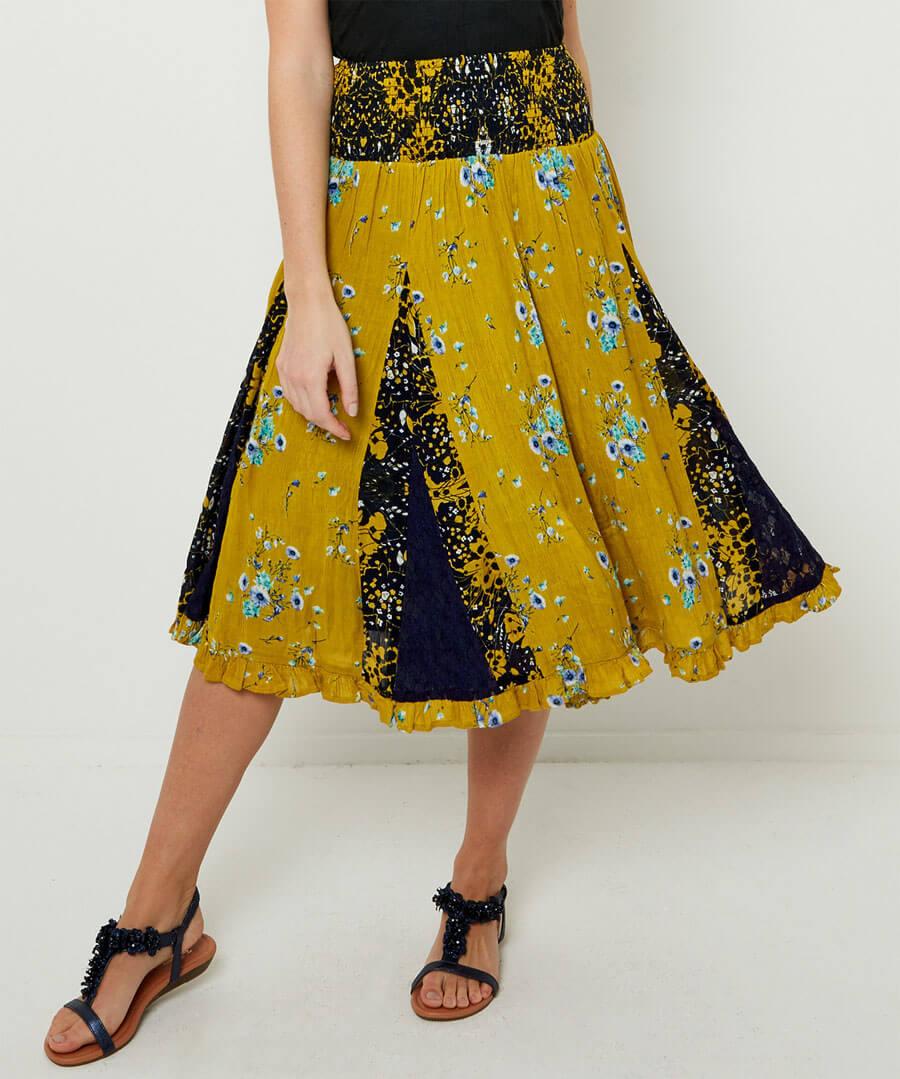 Mellow Yellow Godet Skirt Model Front