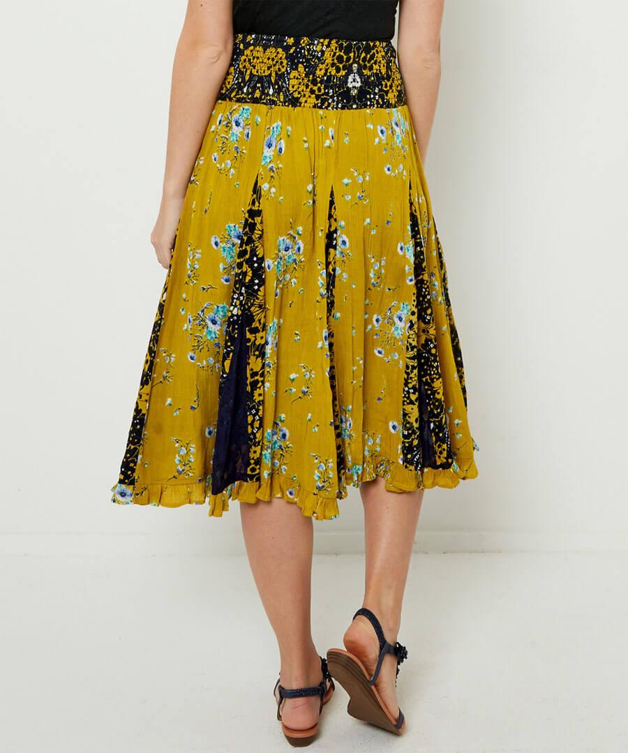 Mellow Yellow Godet Skirt Model Back