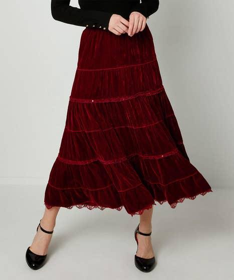 Tiered Velvet Skirt