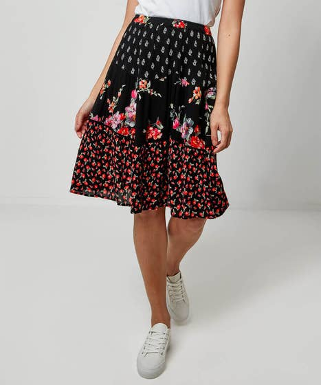 Tiered Mix Of Prints Skirt