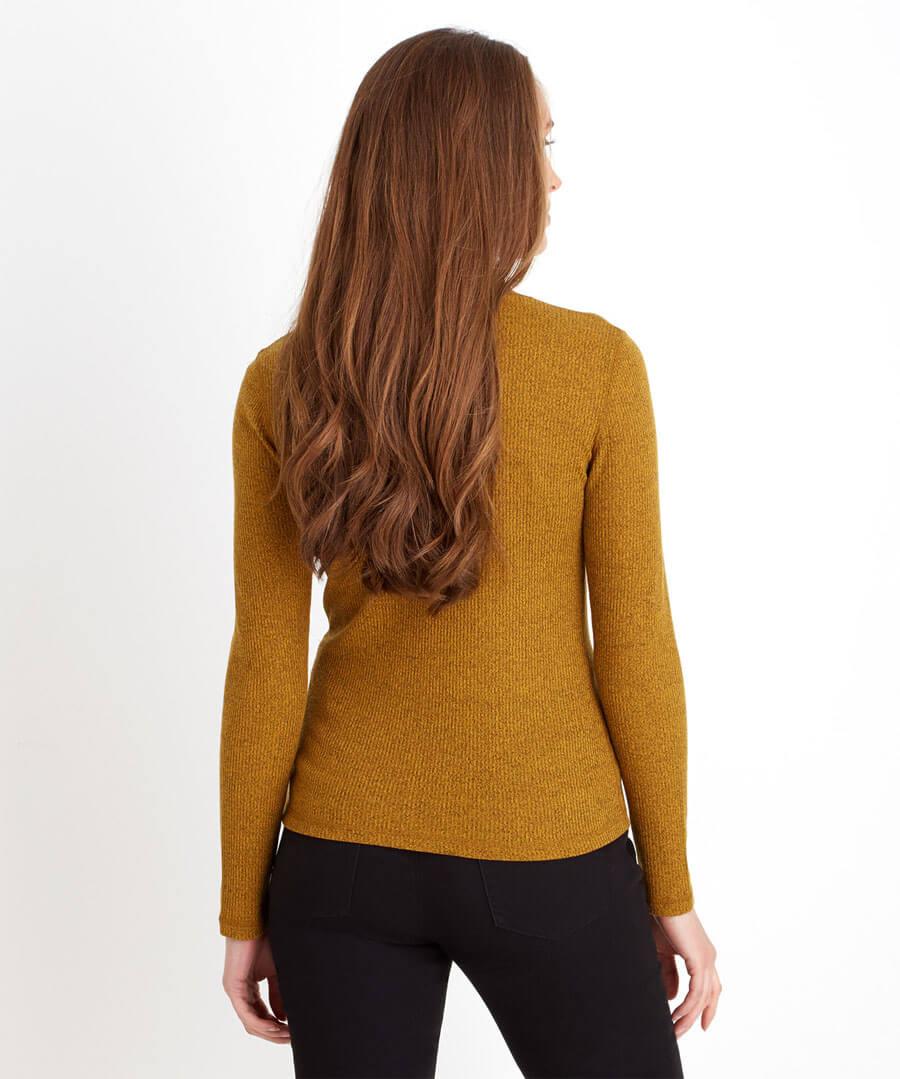 Turtleneck Rib Knit Model Back