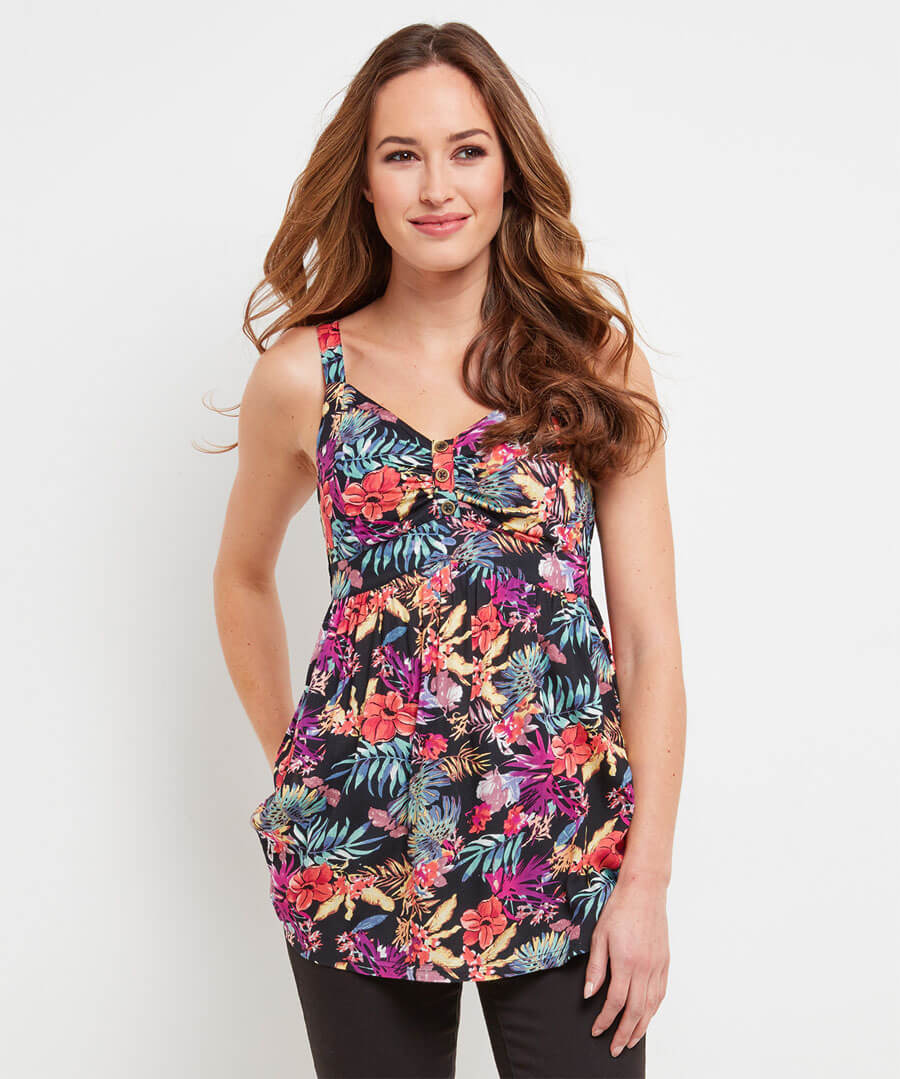 Bold And Bright Tropical Cami Model Front