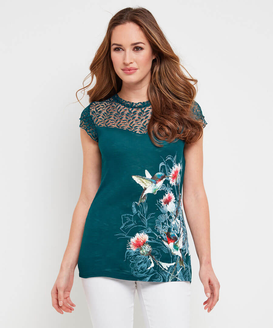 Lace Bird Top Model Front