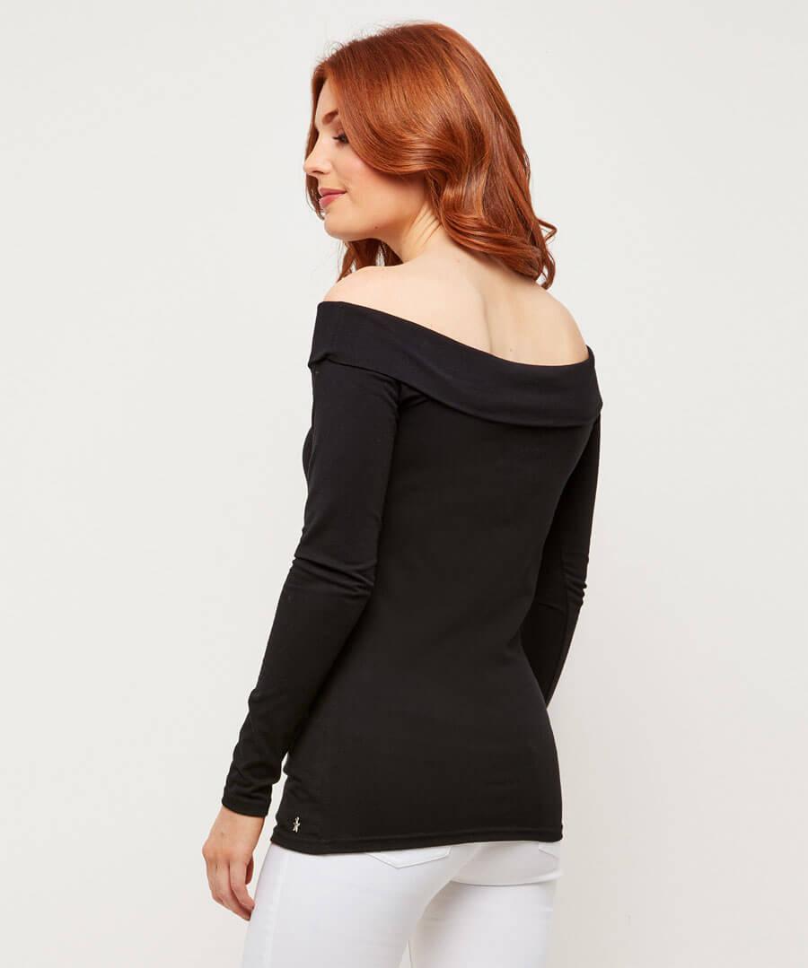 Essential Bardot Sleeve Top Model Back