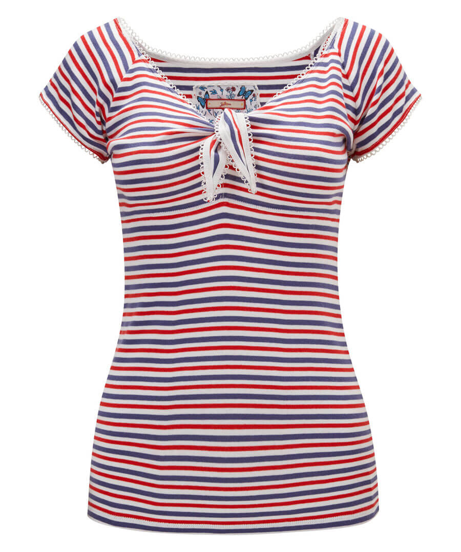 Sail Away Striped Top Model Front