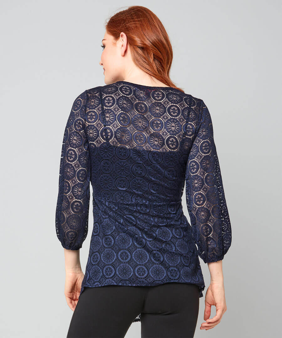 Lacy Wrap Style Top Model Back