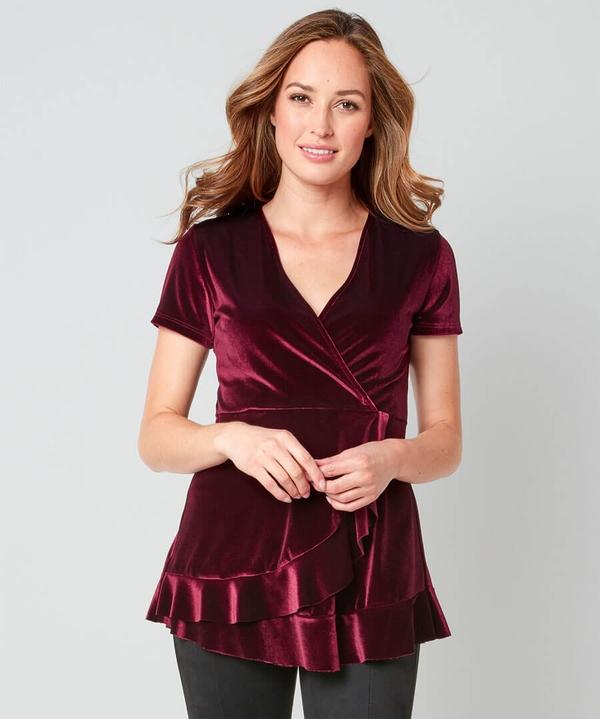 Velvet Wrap Style Top