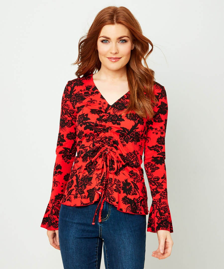 Intriguing Printed Top Model Front