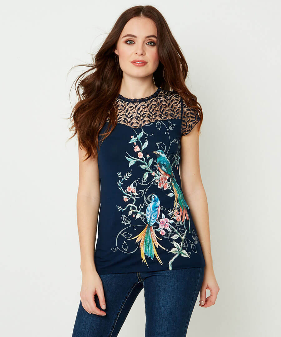 Lacy Printed Top Model Front