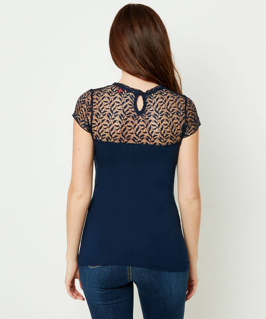 Lacy Printed Top Model Back