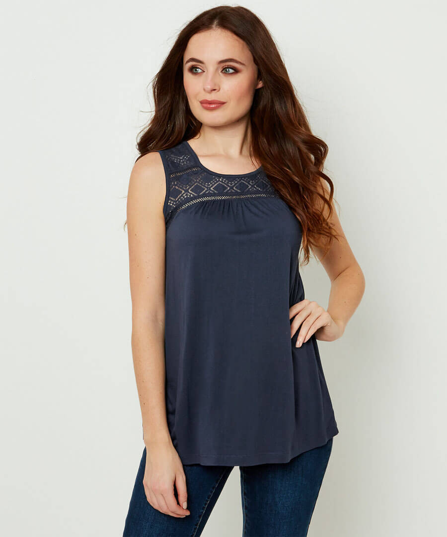 Lace Panel Top Model Front