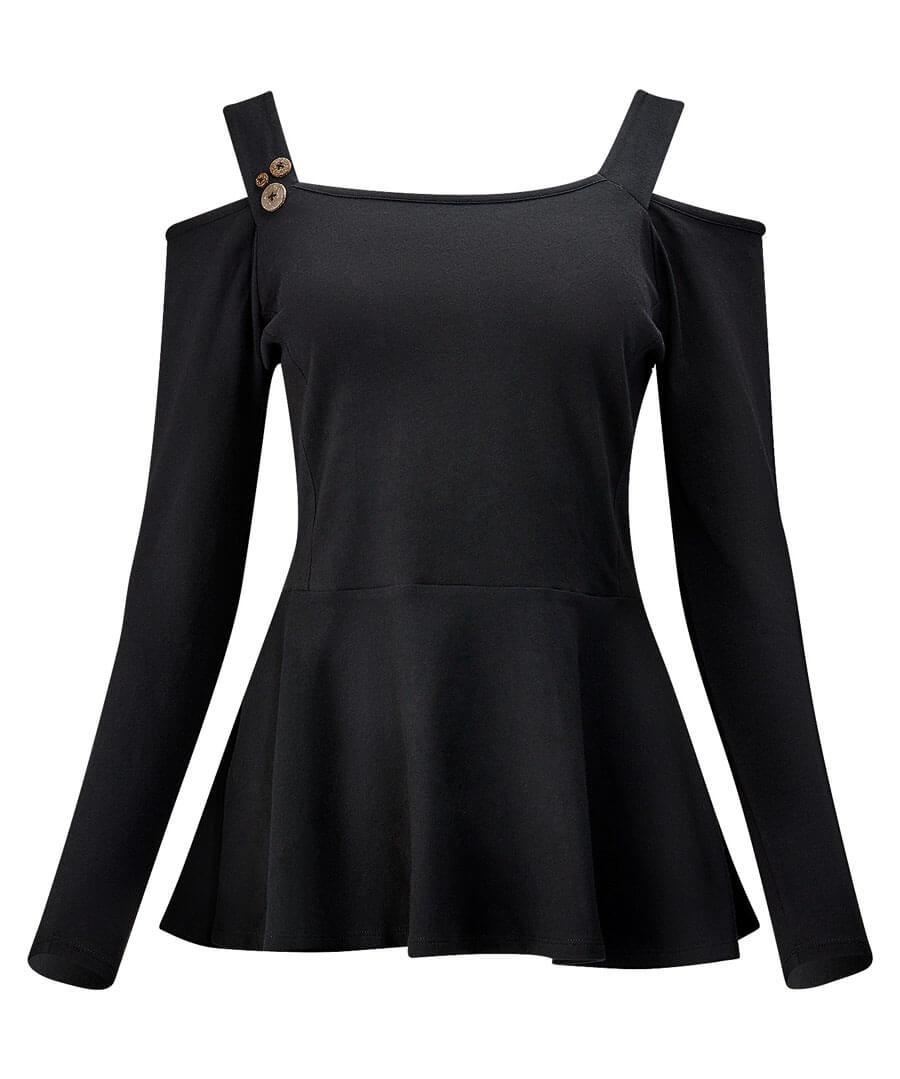 Open Shoulder Basic T-Shirt Model Front