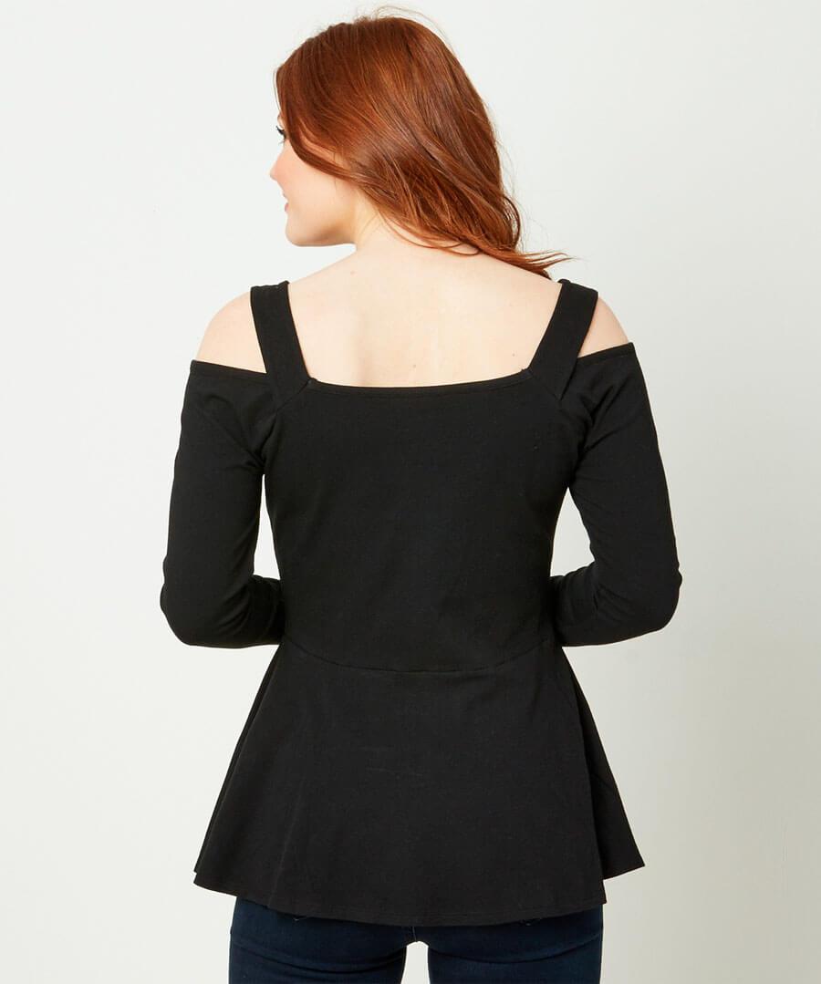Open Shoulder Basic T-Shirt Model Back