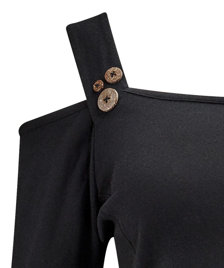Open Shoulder Basic T-Shirt Back