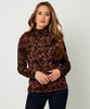 Flocked Animal Roll Neck Top