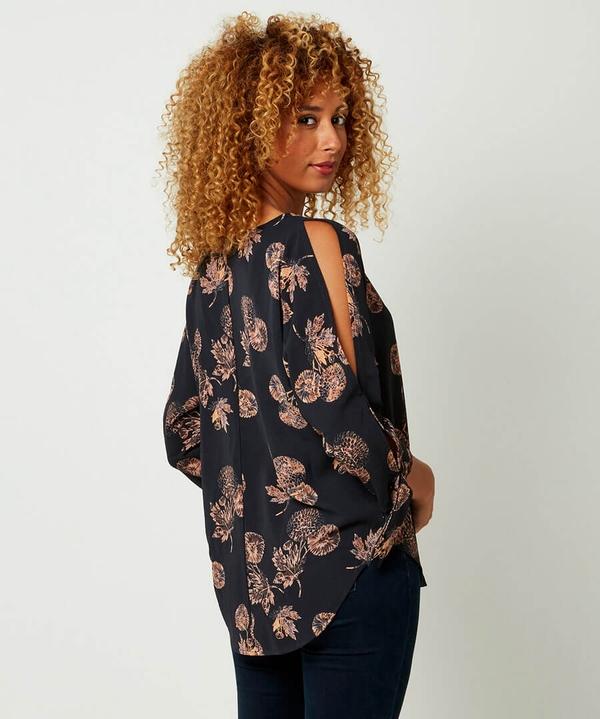 Split Sleeve Printed Blouse