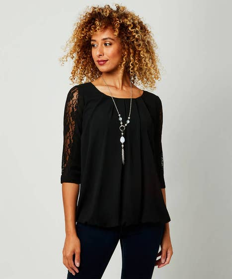 Split Sleeve Lace Detail Top With Necklace