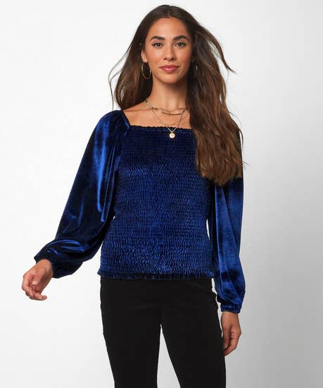 Shirred And Sassy Velour Top